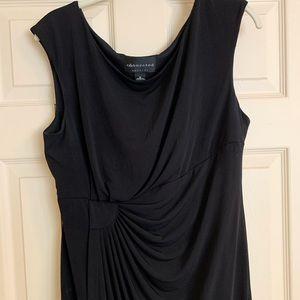 Black Sleeveless Faux Wrap Dress